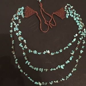 Lucky brand triple strand turquoise bead necklace
